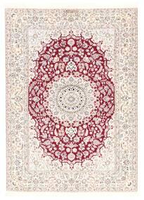 Nain 6La Szőnyeg 126X175 Keleti Kézi Szövésű Bézs/Bézs/Krém/Világos Rózsaszín (Gyapjú/Selyem, Perzsia/Irán)