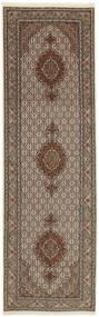 Täbriz 50 Raj Teppich 88X295 Echter Orientalischer Handgewebter Läufer Hellgrau/Braun (Wolle/Seide, Persien/Iran)
