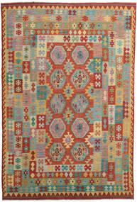 Kilim Afgán Old Style Szőnyeg 244X360 Keleti Kézi Szövésű Piros/Sötétpiros (Gyapjú, Afganisztán)