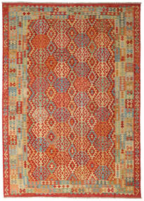 Kilim Afghan Old Style Rug 205X350 Authentic  Oriental Handwoven Rust Red/Light Brown (Wool, Afghanistan)