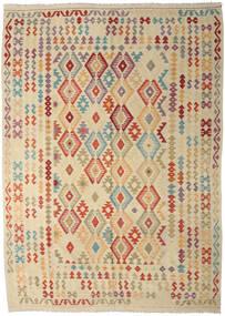 Kelim Afghan Old Style Teppich  247X350 Echter Orientalischer Handgewebter Beige/Dunkel Beige (Wolle, Afghanistan)