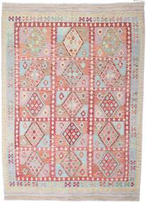 Kelim Afghan Old Style Teppe 210X291 Ekte Orientalsk Håndvevd Lys Grå/Beige (Ull, Afghanistan)