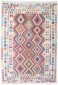 Kilim Afghan Old Style Rug 205X295 Authentic  Oriental Handwoven Dark Beige/Light Blue (Wool, Afghanistan)