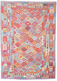 Kilim Afghan Old Style Rug 205X287 Authentic  Oriental Handwoven Light Pink/Light Grey (Wool, Afghanistan)