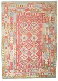 Kilim Afghan Old Style Rug 204X287 Authentic  Oriental Handwoven Dark Beige/Dark Red (Wool, Afghanistan)