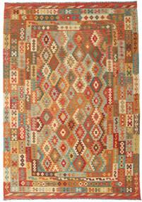 Kelim Afghan Old Style Vloerkleed 243X349 Echt Oosters Handgeweven Bruin/Donkerbeige (Wol, Afghanistan)