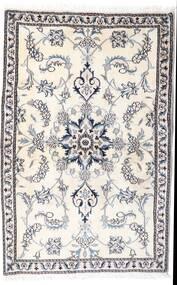 Nain Vloerkleed 90X139 Echt Oosters Handgeknoopt Beige/Lichtgrijs/Wit/Creme (Wol, Perzië/Iran)