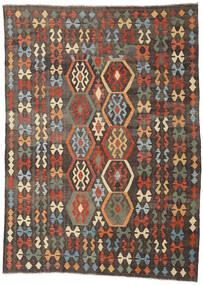 Kilim Afghan Old Style Rug 213X288 Authentic  Oriental Handwoven Dark Grey/Light Brown (Wool, Afghanistan)