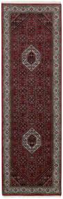 Bidjar Indisch Teppich  83X258 Echter Orientalischer Handgewebter Läufer Dunkelrot/Dunkelgrau (Wolle, Indien)