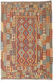 Kelim Afghan Old Style Tæppe 200X300 Ægte Orientalsk Håndvævet Brun/Rød (Uld, Afghanistan)