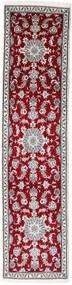 나인 러그 78X312 정품 오리엔탈 수제 복도용 러너 다크 레드/라이트 그레이 (울, 페르시아/이란)