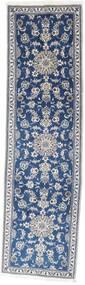 Nain Alfombra 80X280 Oriental Hecha A Mano Azul Oscuro/Gris Claro (Lana, Persia/Irán)
