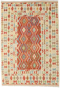 Kelim Afghan Old Style Vloerkleed 205X299 Echt Oosters Handgeweven Beige/Rood (Wol, Afghanistan)