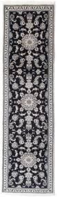 나인 러그 78X278 정품  오리엔탈 수제 복도용 러너  블랙/라이트 그레이 (울, 페르시아/이란)