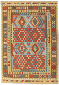 Kilim Afghan Old Style Rug 202X287 Authentic  Oriental Handwoven Dark Beige/Crimson Red (Wool, Afghanistan)