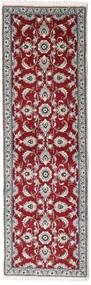 Nain Rug 76X247 Authentic  Oriental Handknotted Hallway Runner  Dark Red/Light Grey (Wool, Persia/Iran)