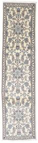 Nain Rug 75X300 Authentic  Oriental Handknotted Hallway Runner  Light Grey/Beige (Wool, Persia/Iran)