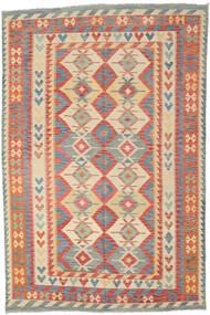 Kilim Afghan Old Style Rug 204X309 Authentic  Oriental Handwoven Crimson Red/Dark Beige (Wool, Afghanistan)