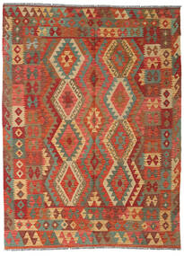 Kilim Afghan Old Style Rug 175X240 Authentic  Oriental Handwoven Crimson Red/Light Brown (Wool, Afghanistan)
