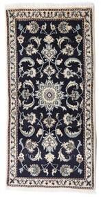 Nain Rug 68X140 Authentic  Oriental Handknotted Black/Light Grey (Wool, Persia/Iran)