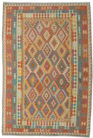 Kelim Afghan Old Style Vloerkleed 211X294 Echt Oosters Handgeweven Lichtbruin/Donkerrood (Wol, Afghanistan)