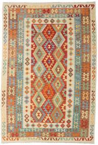 Kelim Afghan Old Style Vloerkleed 198X290 Echt Oosters Handgeweven Donkerbeige/Donkerrood (Wol, Afghanistan)