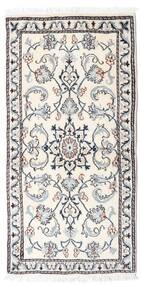 Nain Tæppe 65X136 Ægte Orientalsk Håndknyttet Beige/Lysegrå (Uld, Persien/Iran)