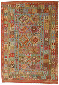 Kelim Afghan Old Style Teppe 210X305 Ekte Orientalsk Håndvevd Rød/Brun (Ull, Afghanistan)