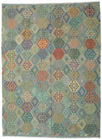 Kelim Afghan Old Style Teppe 250X350 Ekte Orientalsk Håndvevd Lys Grå/Mørk Turkis Stort (Ull, Afghanistan)