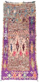 Berber Moroccan - Boucherouite 絨毯 85X200 モダン 手織り 廊下 カーペット ライトピンク/ベージュ ( モロッコ)