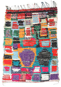 Berber Moroccan - Boucherouite 絨毯 136X191 モダン 手織り 薄い灰色/黒 ( モロッコ)