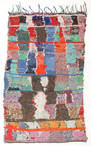 Berber Moroccan - Boucherouite 絨毯 130X215 モダン 手織り 茶/ホワイト/クリーム色 ( モロッコ)