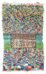 Berber Moroccan - Boucherouite 絨毯 128X220 モダン 手織り 薄い灰色/暗めのベージュ色の ( モロッコ)
