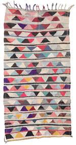 Berber Moroccan - Boucherouite 絨毯 154X301 モダン 手織り 廊下 カーペット 薄い灰色/濃いグレー ( モロッコ)
