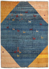 Gabbeh Rustic Rug 205X284 Authentic  Modern Handknotted Dark Blue/Dark Beige (Wool, Persia/Iran)