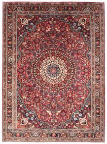 Moud Tæppe 205X285 Ægte Orientalsk Håndknyttet Mørkerød/Mørkebrun (Uld/Silke, Persien/Iran)