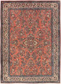 Sarough Vloerkleed 225X311 Echt Oosters Handgeknoopt Donkerrood/Donkergrijs (Wol, Perzië/Iran)