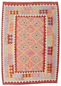 Chilim Afghan Old Style Covor 128X181 Orientale Lucrate De Mână Gri Deschis/Roz Deschis (Lână, Afganistan)