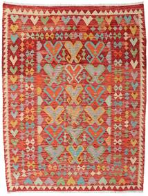 Kelim Afghan Old Style Teppe 145X191 Ekte Orientalsk Håndvevd Rust/Mørk Rød (Ull, Afghanistan)
