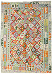 Kelim Afghan Old Style Teppe 212X296 Ekte Orientalsk Håndvevd Lys Grå/Mørk Beige (Ull, Afghanistan)