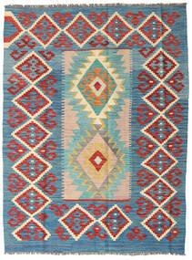 キリム アフガン オールド スタイル 絨毯 130X171 オリエンタル 手織り 青/深紅色の (ウール, アフガニスタン)