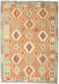 Kilim Afgan Old Style Dywan 167X233 Orientalny Tkany Ręcznie Ciemnobeżowy/Pomarańczowy (Wełna, Afganistan)