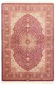 Ghom Silke Teppe 102X151 Ekte Orientalsk Håndvevd Mørk Rød/Lyserosa (Silke, Persia/Iran)