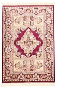Ghom Silke Teppe 100X147 Ekte Orientalsk Håndvevd Lyserosa/Beige (Silke, Persia/Iran)