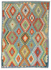 キリム アフガン オールド スタイル 絨毯 124X171 オリエンタル 手織り 暗めのベージュ色の/薄い灰色 (ウール, アフガニスタン)