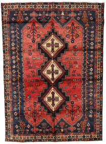 Afshar Tapis 164X227 D'orient Fait Main Bleu Foncé/Rouge Foncé/Rouille/Rouge (Laine, Perse/Iran)