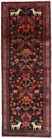 Hamadan Rug 105X287 Authentic Oriental Handknotted Hallway Runner Dark Red/Black (Wool, Persia/Iran)