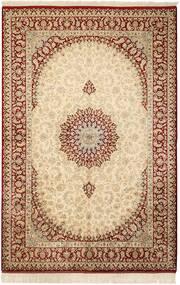 Qom Mătase Covor 132X201 Orientale Lucrat Manual Bej/Maro Deschis (Mătase, Persia/Iran)