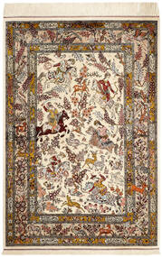Qum Silk Rug 98X148 Authentic Oriental Handknotted Beige/Brown (Silk, Persia/Iran)