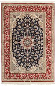 Isfahan Urzeală De Mătase Covor 161X236 Orientale Lucrate De Mână Maro Deschis/Roșu-Închis (Lână/Mătase, Persia/Iran)